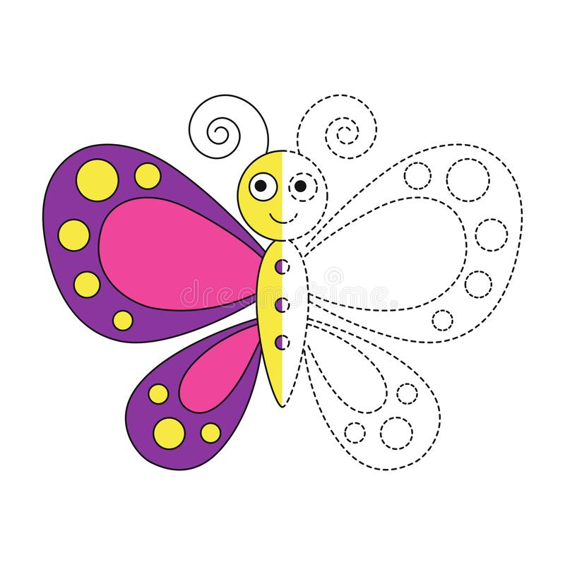 Illustration of funny butterfly for toddlers. Vector drawing worksheet for preschool kids with easy gaming level of difficulty. Simple educational game for kids vector illustration