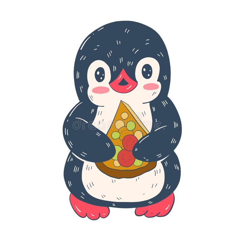Illustration with funny cartoon penguin with pizzas. royalty free illustration