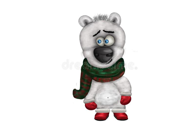 Illustration of funny cute polar bear in winter clothes stock photo
