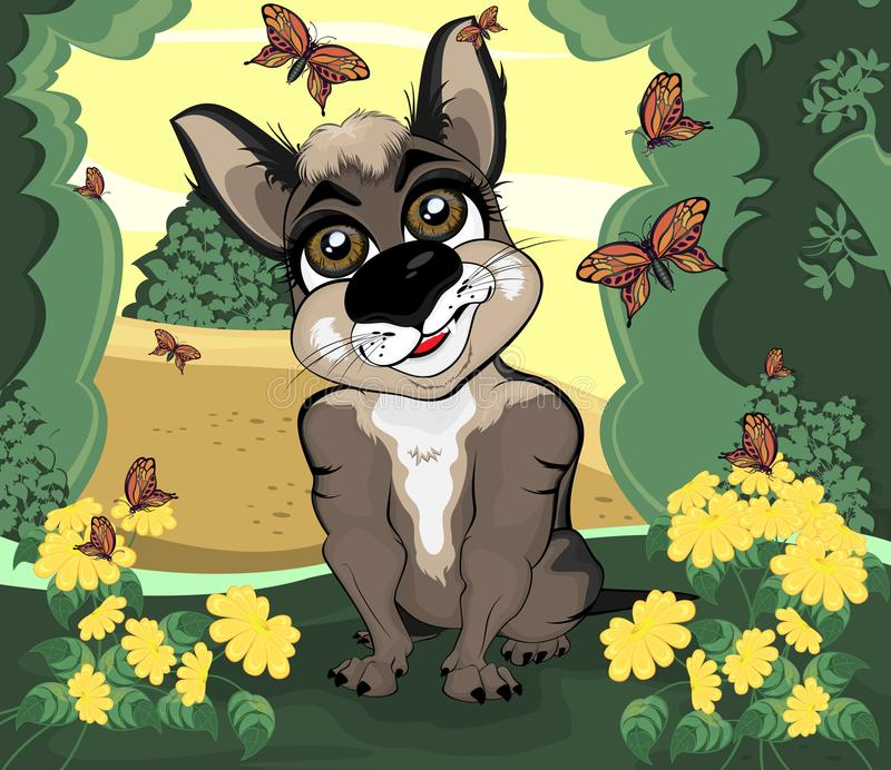 The dog sits in the thicket of the forest grove. Illustration of a funny doggie who is resting in the grove, watching the butterflies vector illustration