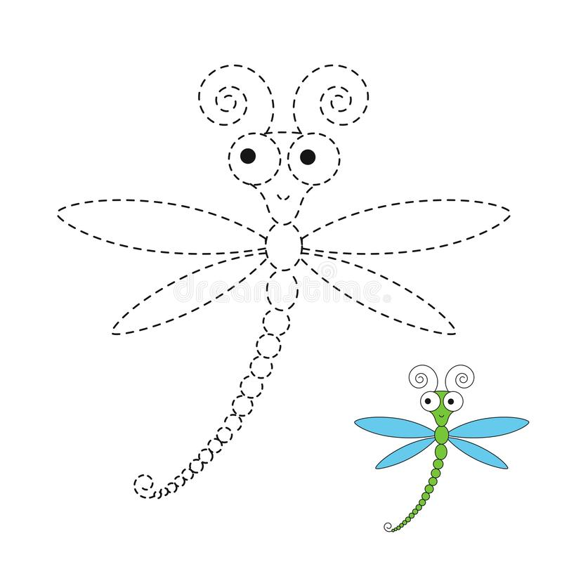 Illustration of funny dragonfly for toddlers. Vector drawing worksheet for preschool kids with easy gaming level of difficulty. Simple educational game for kids royalty free illustration