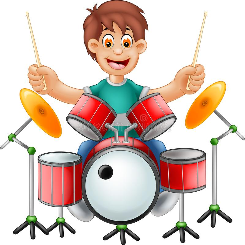 Funny Drummer Cartoon Sitting With Smile And Play Drum ...