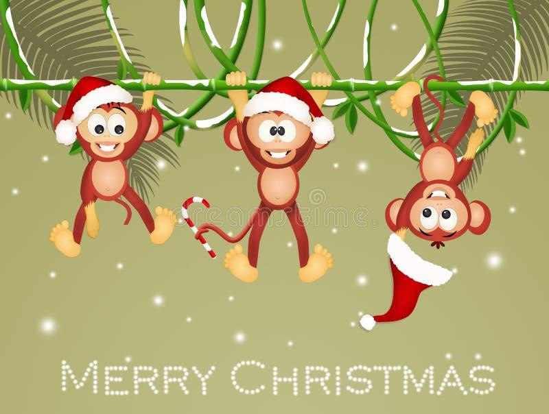 Monkeys with Christmas hats royalty free illustration