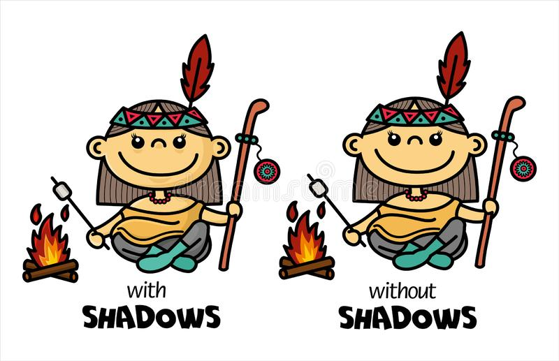 Illustration of funny Native American chibi girl by campfire making fried marshmallow. Cartoon Indian shaman woman character. stock illustration