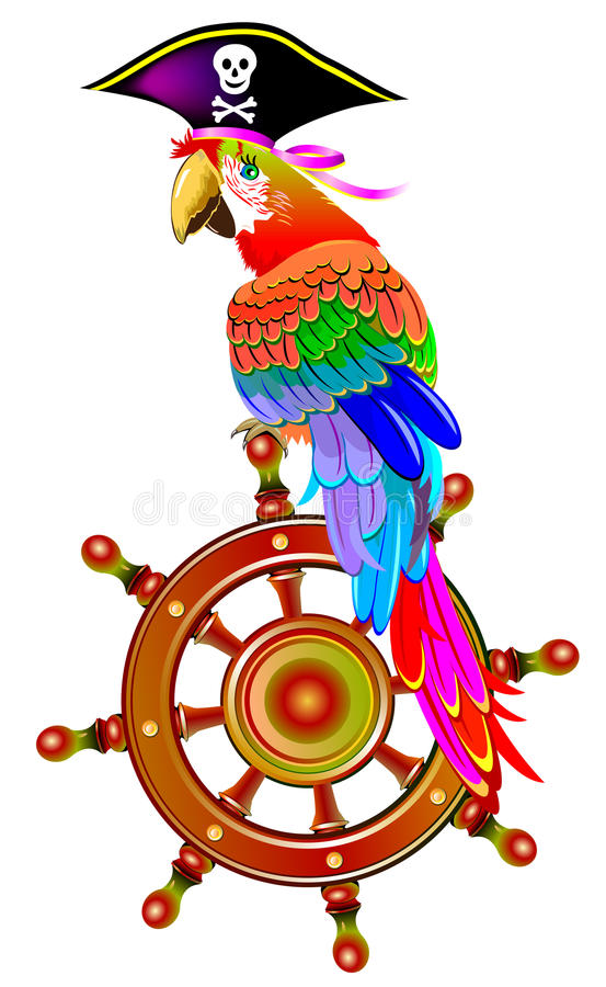 Illustration of funny parrot siting on the steering wheel in a pirate hat, vector cartoon image. Vector cartoon image. Scale to any size without loss of vector illustration