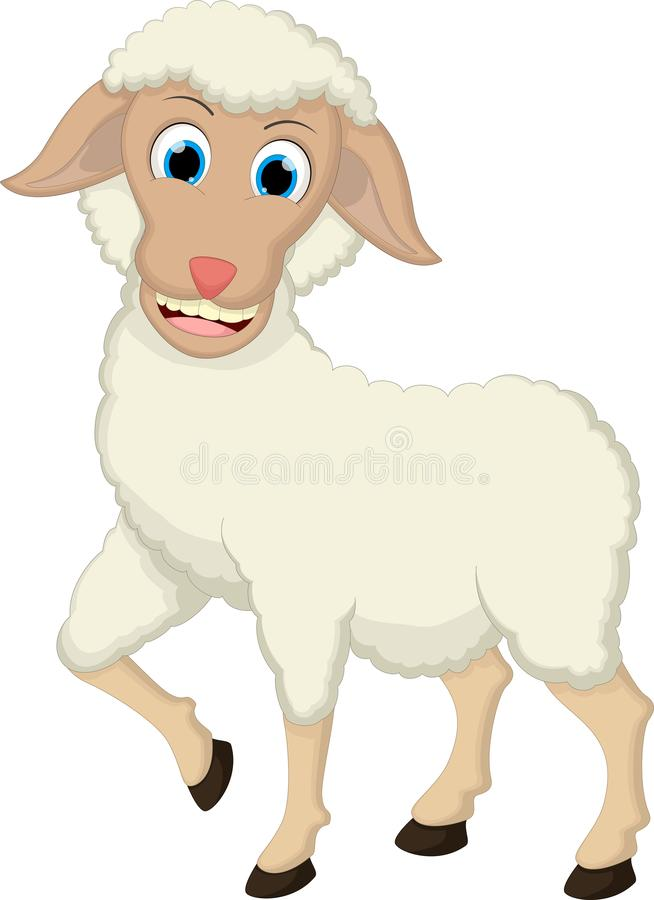 Funny Sheep Cartoon White Background royalty free illustration