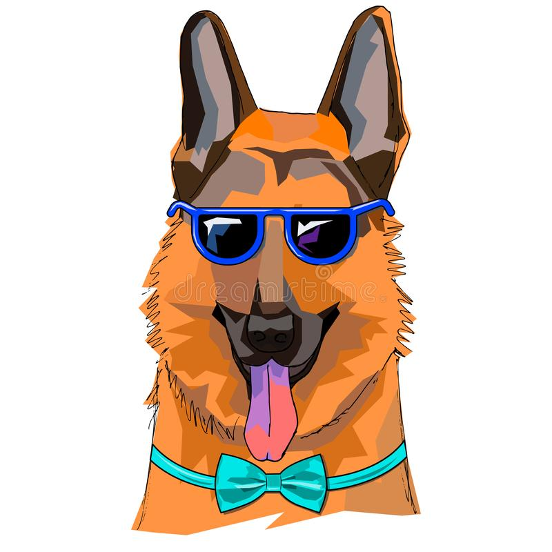 The illustration of funny shepherd dog with the glasses and bow tie. This is a vector drawing. It can be used for t-shirts books and for other design projects vector illustration