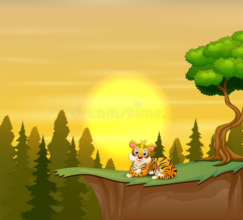 Funny tiger sitting on the cliff with a beauty sunset landscape royalty free illustration