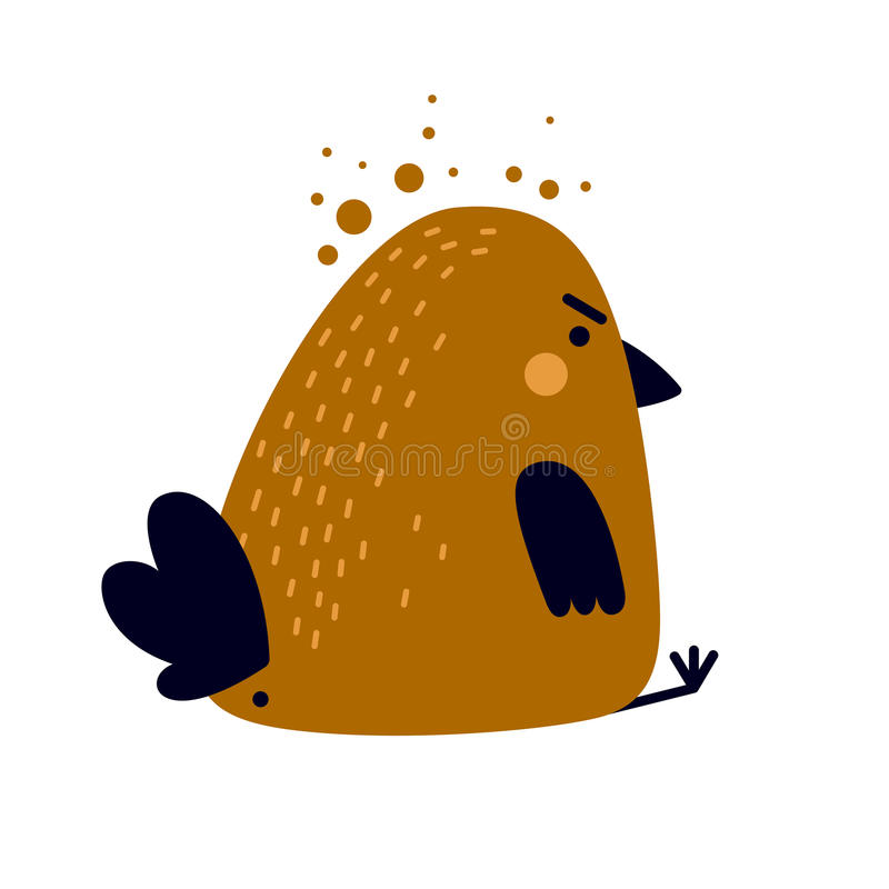 Illustration of funny tired or ill bird with big cup of tea royalty free illustration