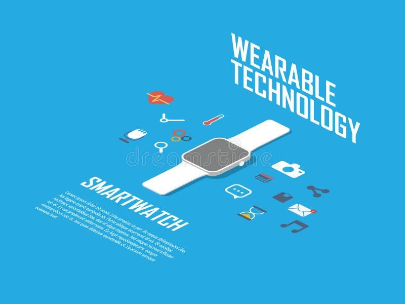 Illustration futée de concept de montre Smartwatch et illustration stock