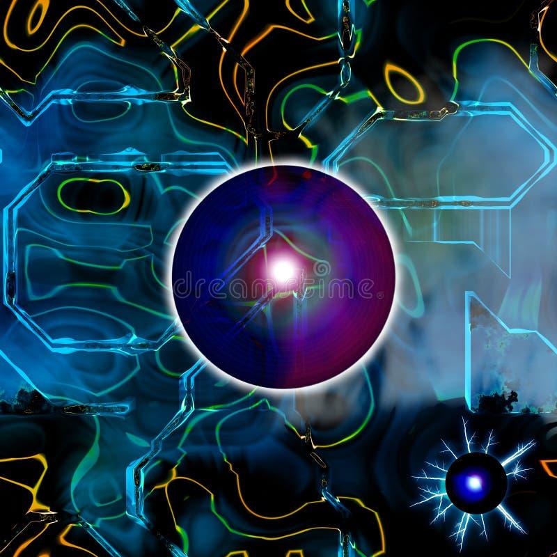 Illustration futuriste abstraite de pointe rouge 3D et bleue illustration stock