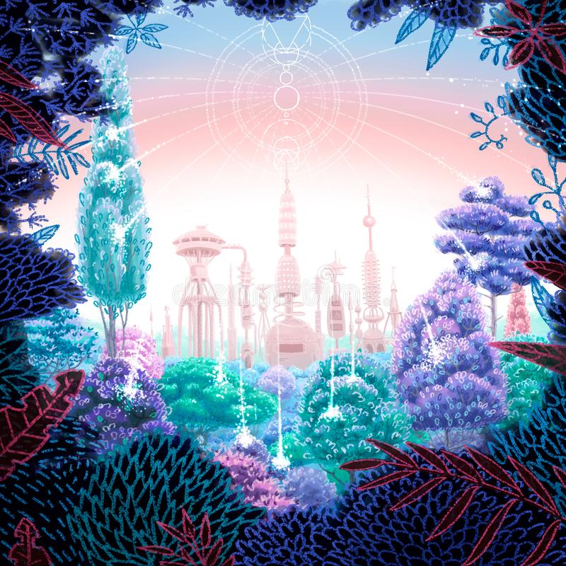 Illustration futuriste carrée de Digital de la forêt avec l'usine puissante derrière illustration libre de droits