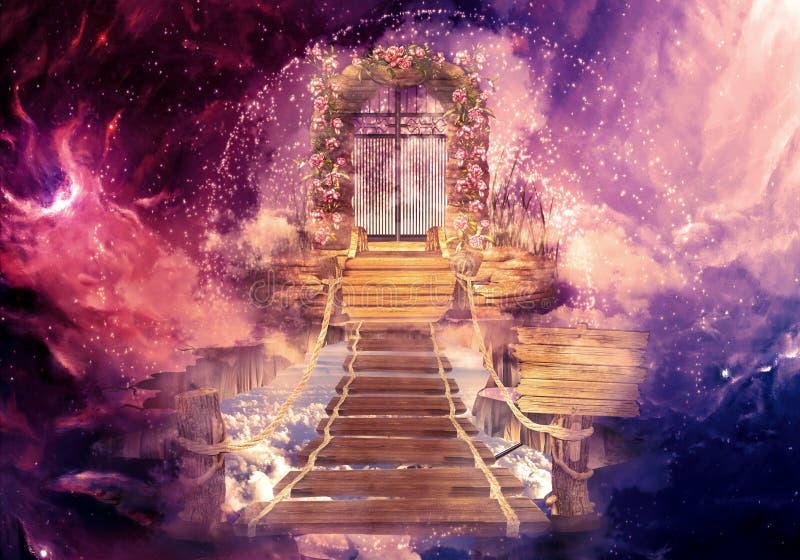 Illustration générée par ordinateur du rendu 3d coloré artistique de résumé d'une porte de ciel qui mène à une autre dimension da illustration libre de droits