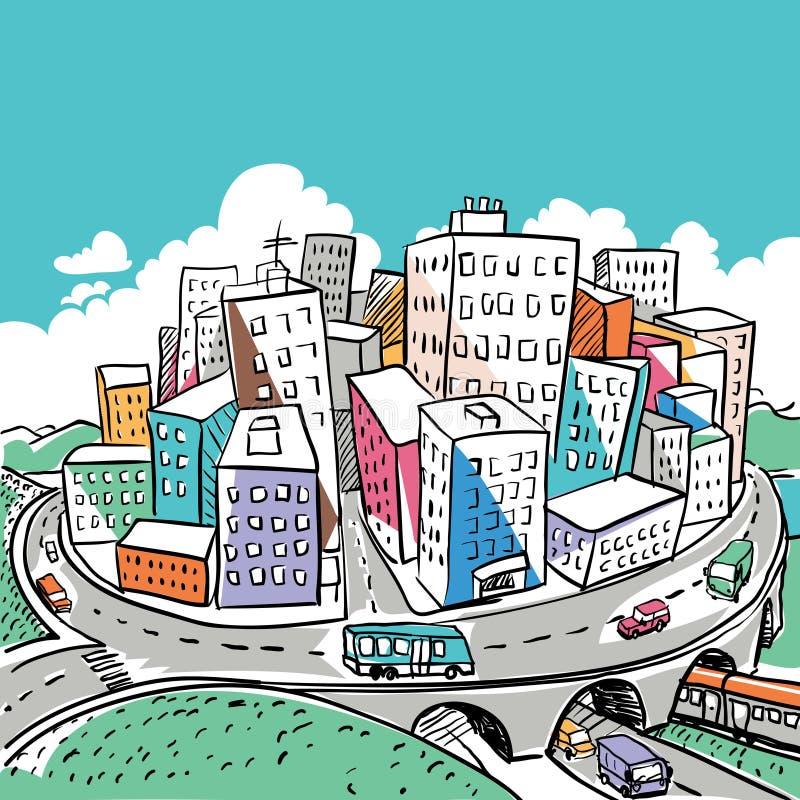 Illustration géniale de griffonnage de ville illustration libre de droits
