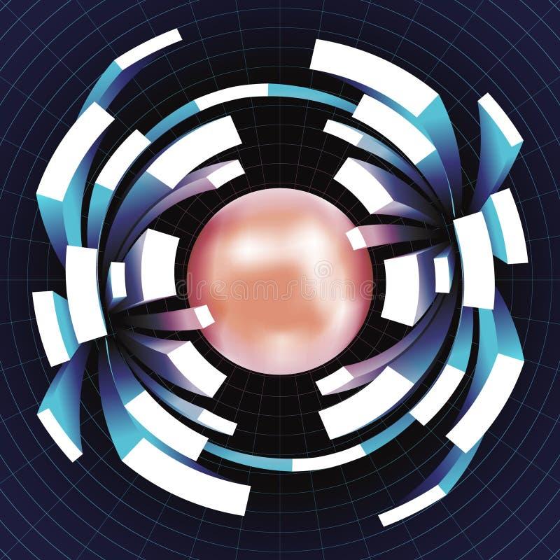 Illustration géométrique de vecteur de calibre de fond d'abrégé sur grille de l'espace de volume de mouvement d'extension de boul illustration de vecteur