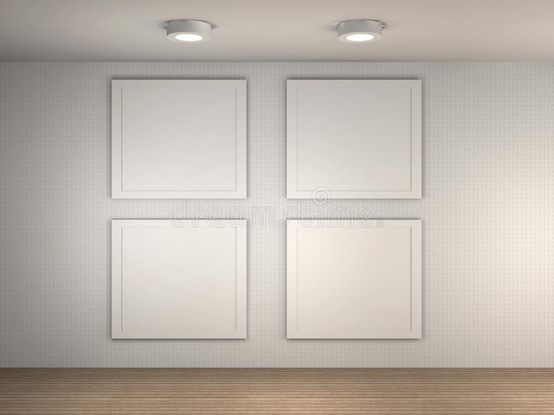 Illustration Of A Gallery With 4 Empty Frames Royalty Free Stock Image