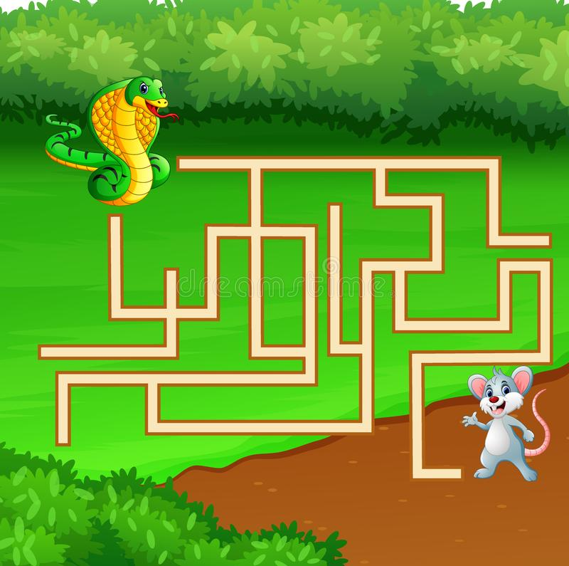 Game snake maze find way to the mouse. Illustration of Game snake maze find way to the mouse stock illustration