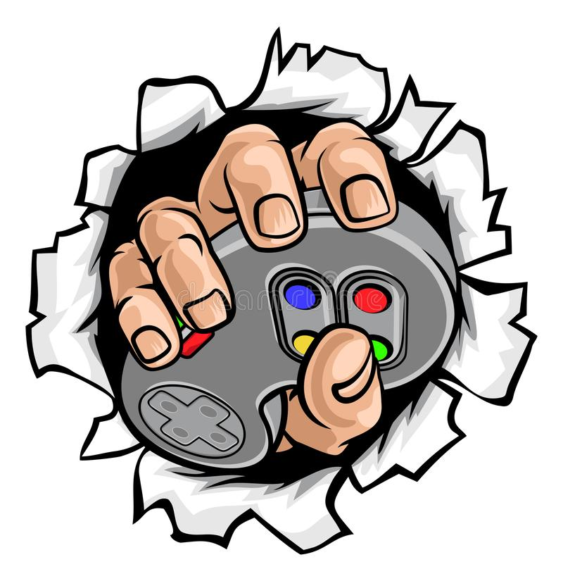 Gamer Hand and Video Game Controller Breaking Wall stock illustration