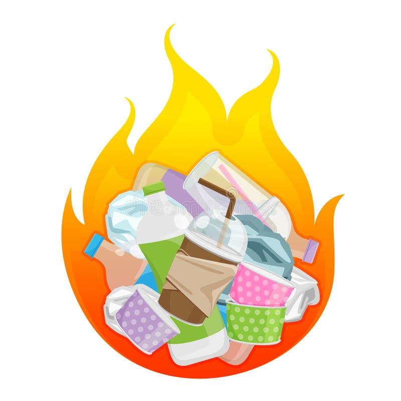 Garbage burnt, burn waste plastic symbol, pollution from plastic in bonfire, plastic waste incineration fire flame vector illustration