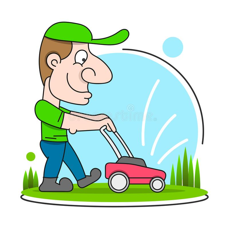 Illustration Of A Gardener Wearing Hat And Overalls With Lawnmower Mowing Lawn Viewed From Front Set On Isolated. In Cartoon Style vector illustration
