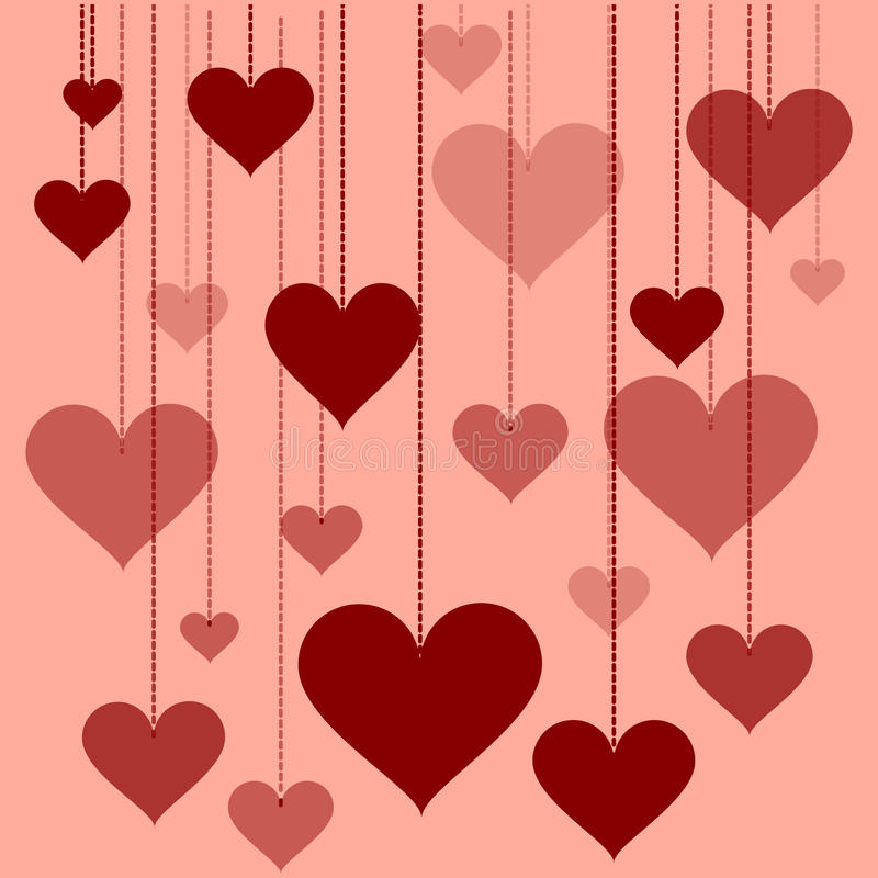Illustration of a garland of hearts background Valentine's Day, wedding royalty free illustration