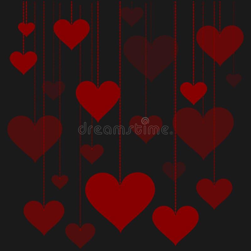 Illustration of a garland of hearts background Valentine's Day, wedding stock illustration