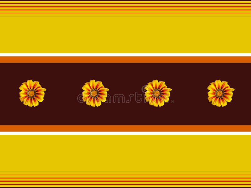 Illustration with Gazania flowers. Illustration made with Gazania flowers and lines of different widths and colors arranged with the flower stock illustration