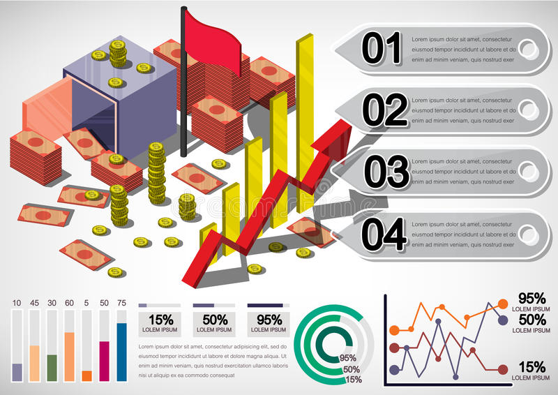 Illustration Geld-Ausrüstungskonzeptes der Informationen des grafischen lizenzfreie abbildung