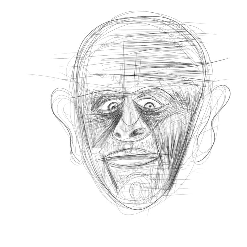 Illustration gemacht auf der Tablette, die ein menschliches Gesicht darstellt lizenzfreie stockfotografie