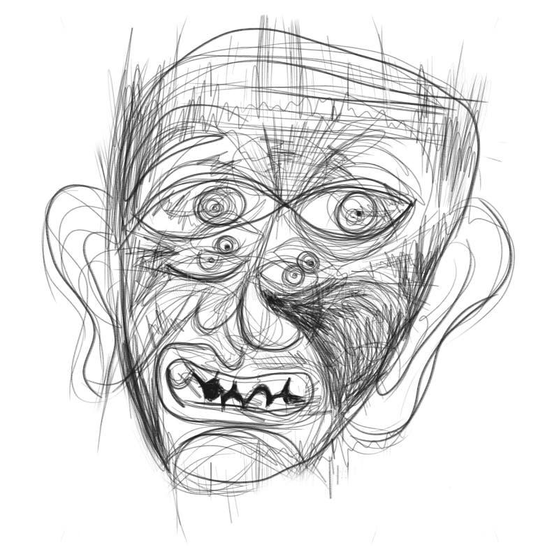 Illustration gemacht auf der Tablette, die ein menschliches Gesicht darstellt lizenzfreie stockfotos