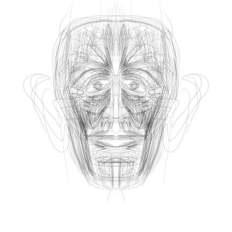 Illustration gemacht auf der Tablette, die ein menschliches Gesicht darstellt stockfotografie