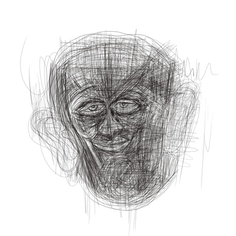 Illustration gemacht auf der Tablette, die ein menschliches Gesicht darstellt stockbild