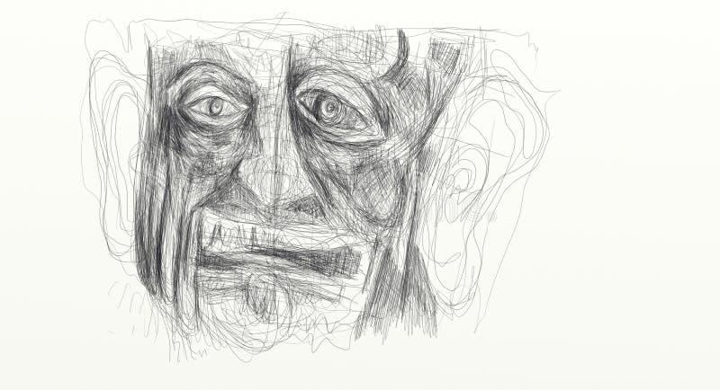 Illustration gemacht von der digitalen Zeichnung, die Detail des Gesichtes eines Mannes beunruhigt, fassungslos, überrascht zeigt stockfotografie