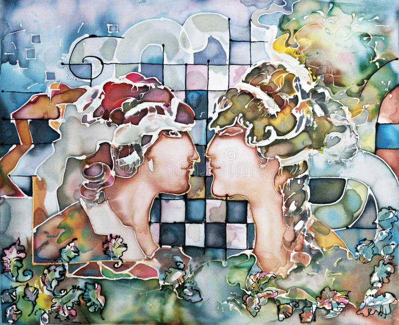 Illustration of Gemini astrological sign. As a beautiful girls looking to each other stock illustration