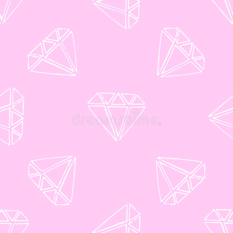 Illustration gems. Diamonds and diamonds on a pink background. Seamless pattern vector illustration