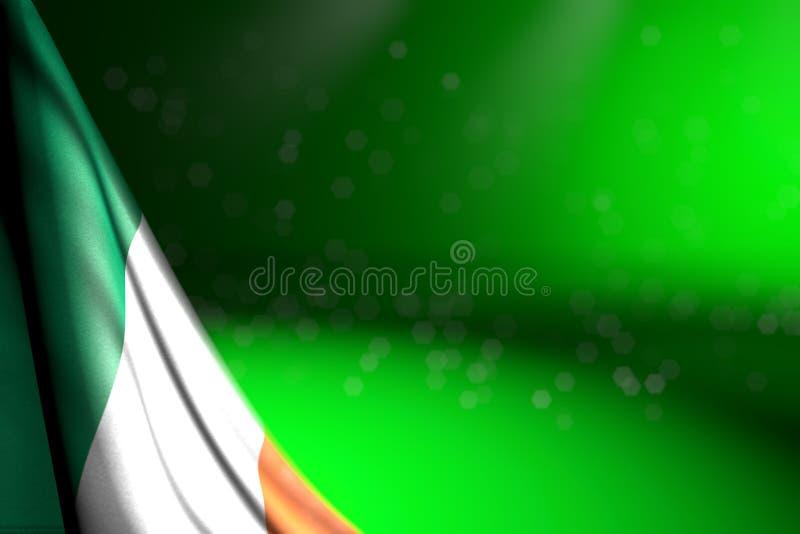 Illustration gentille du drapeau 3d de vacances nationales - image de diagonale accrochante de drapeau de l'Irlande sur le vert a illustration de vecteur