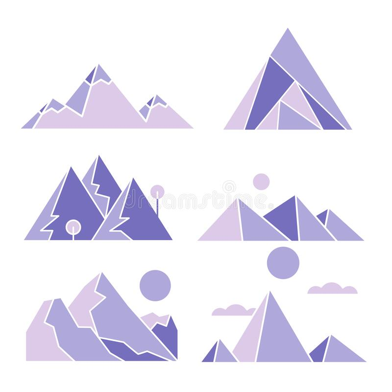 Illustration geometric hill look awesome and so cute stock photo