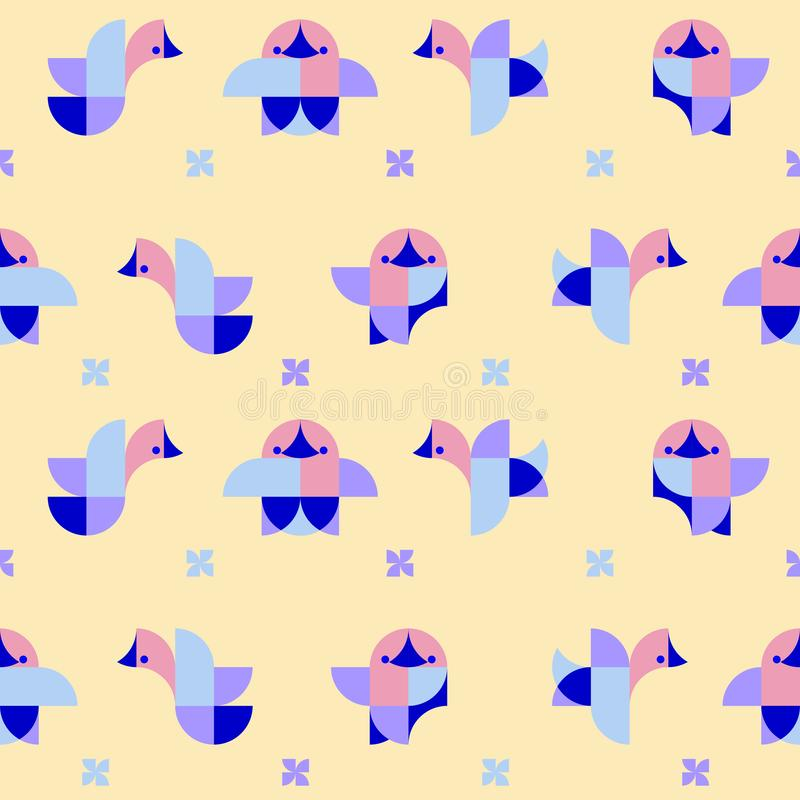 Illustration of geometric dogchicks in duplex stock illustration