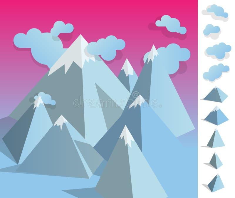 Illustration of geometric iceberg mountain landscape stock images