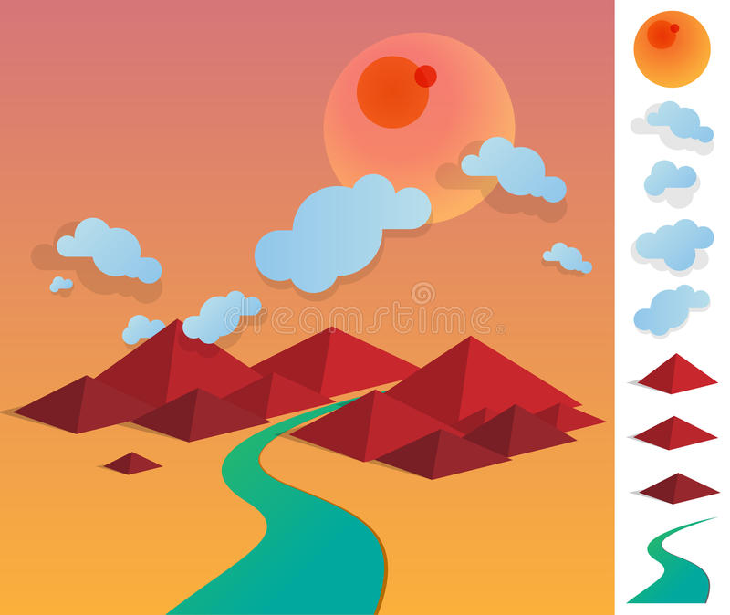 Illustration of geometric landscape with river between hills royalty free stock photography