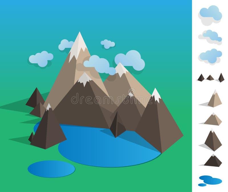 Illustration of geometric mountain lake landscape stock photography