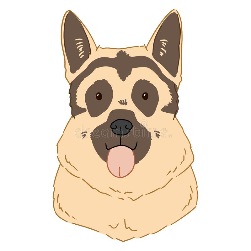 Illustration of german shepherd portrait on white background. Vector drawn by hand art of cute cartoon dog head. Colorful picture vector illustration
