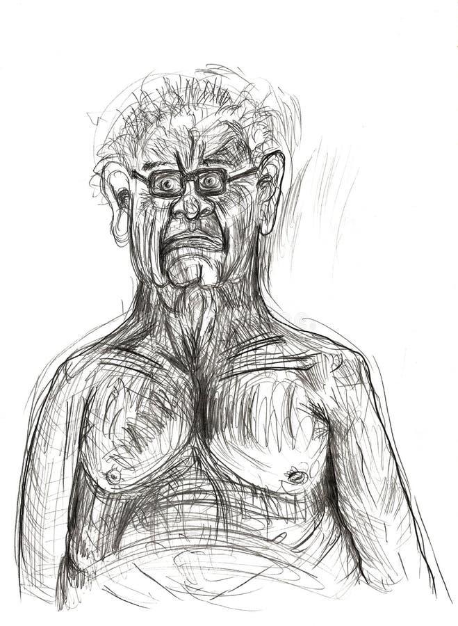 Illustration geschaffen im Bleistift, der eine eingebildete, alleine, schwermütige menschliche Figur darstellt Unbedeutende und e lizenzfreies stockfoto