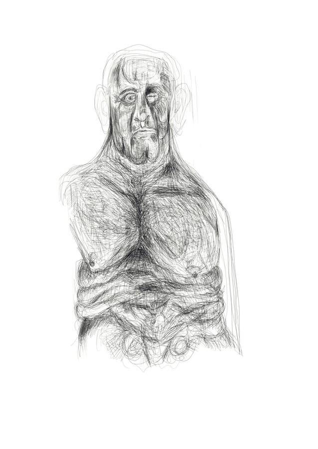 Illustration geschaffen im Bleistift, der eine eingebildete, alleine, schwermütige menschliche Figur darstellt Unbedeutende und e lizenzfreie stockfotografie