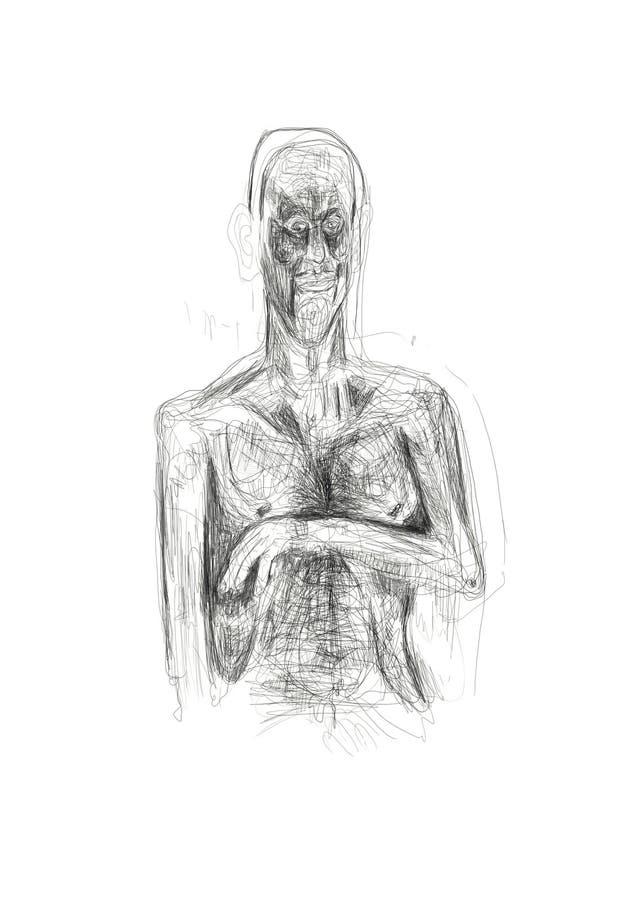Illustration geschaffen im Bleistift, der eine eingebildete, alleine, schwermütige menschliche Figur darstellt Unbedeutende und e stockfotos