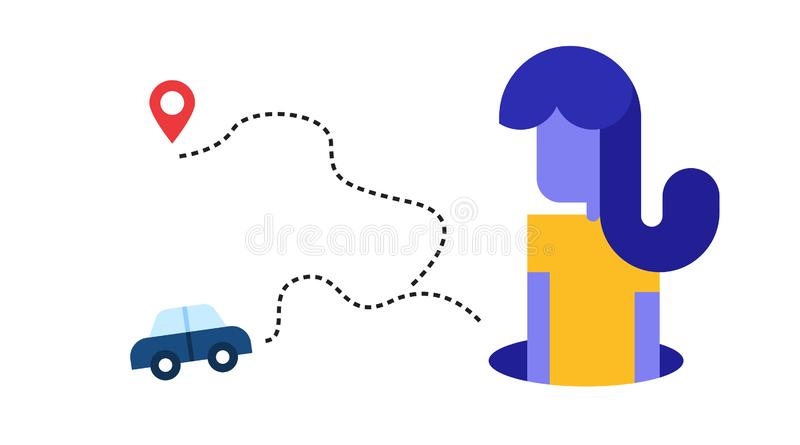 Illustration about getting lost while traveling. women on a car trip looking for locations. vector vector illustration