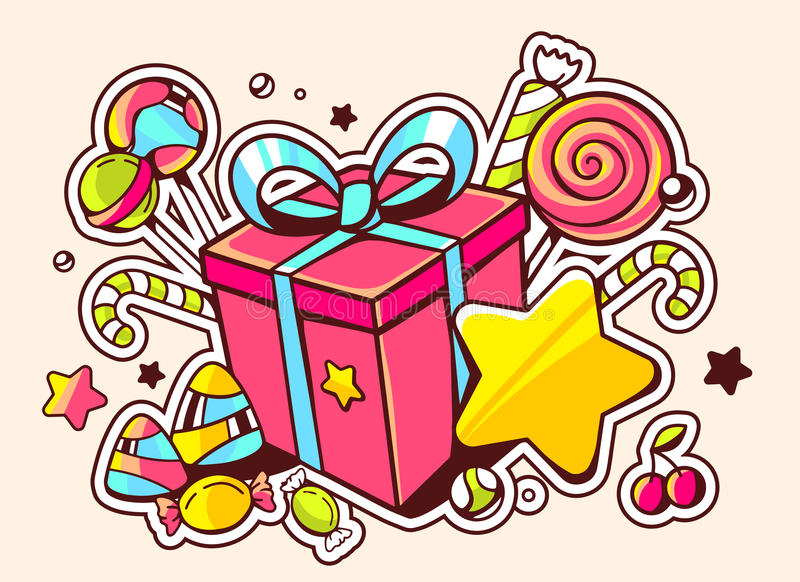Illustration of gift box and confection on light backgro. Und with star and dot. Hand drawn line art design for web, site, advertising, banner, poster, board and stock illustration