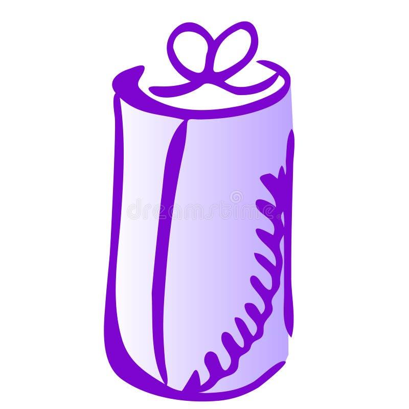 Illustration of gift icon on white background. Illustration of cylinder gift icon on white background, hand, draw, splash, glowing, present, box, violet, vector stock illustration