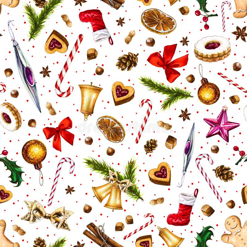 Festive seamless pattern with winter holiday attributes on white background with red dots. royalty free illustration