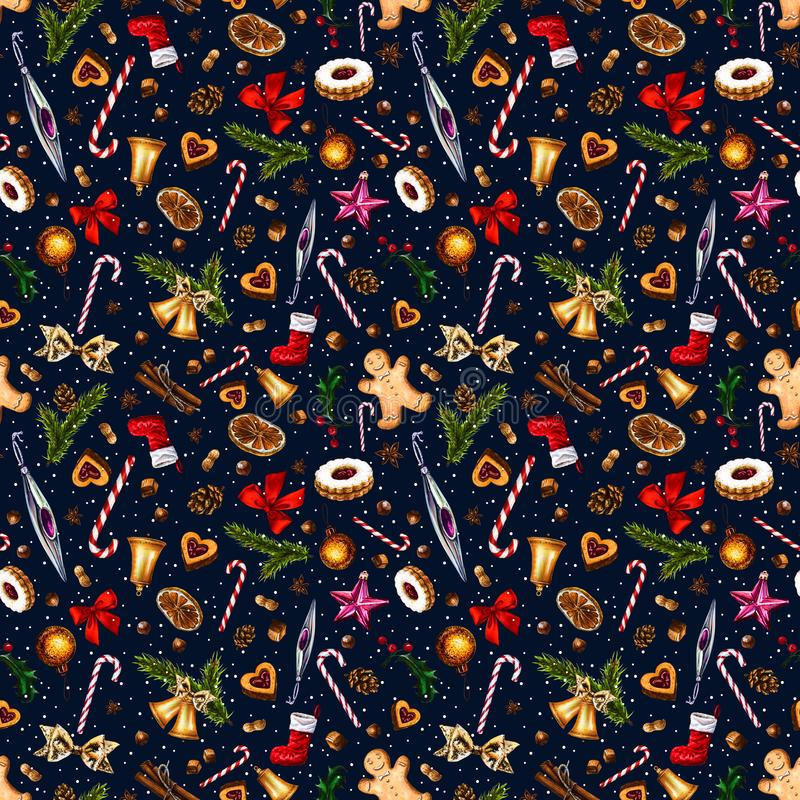 Festive seamless pattern with winter holiday attributes on dark blue background with white snow dots. vector illustration